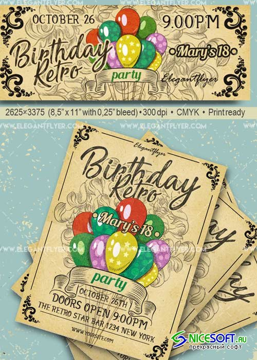Birthday Retro Party V29 Flyer PSD Template + Facebook Cover