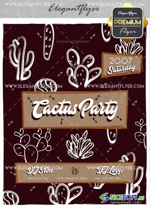Cactus Party V3 Flyer PSD Template + Facebook Cover
