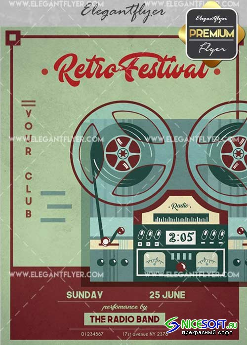 Retro Festival V12 Flyer PSD Template + Facebook Cover