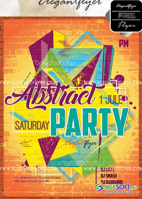 Abstract Party V25 Flyer PSD Template + Facebook Cover