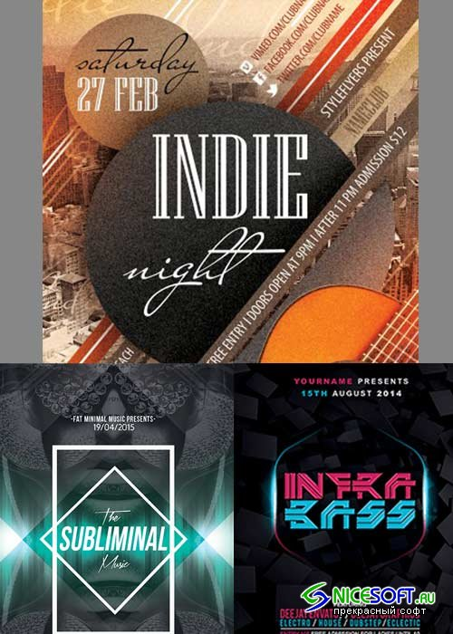 Minimal Party 3in1 V11 Flyer Template