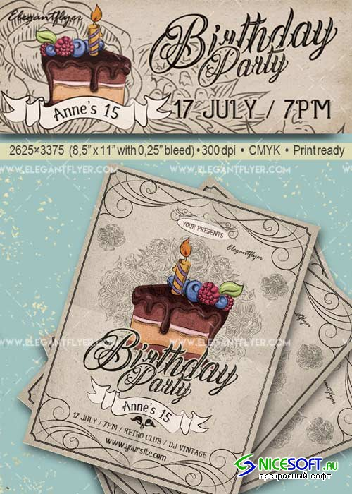 Birthday Party V19 Flyer PSD Template + Facebook Cover