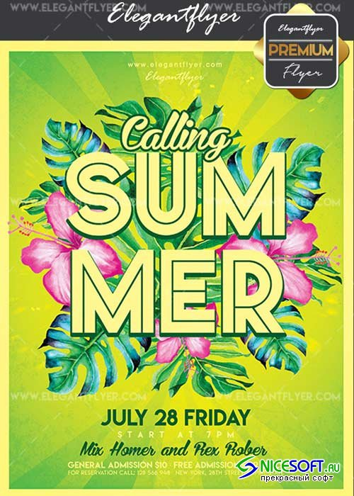 Summer Calling V15 Flyer PSD Template + Facebook Cover