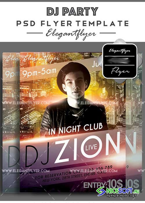DJ Party V28 Flyer PSD Template + Facebook Cover
