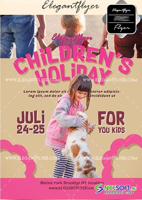 Children's holidays V29 Flyer PSD Template + Facebook Cover