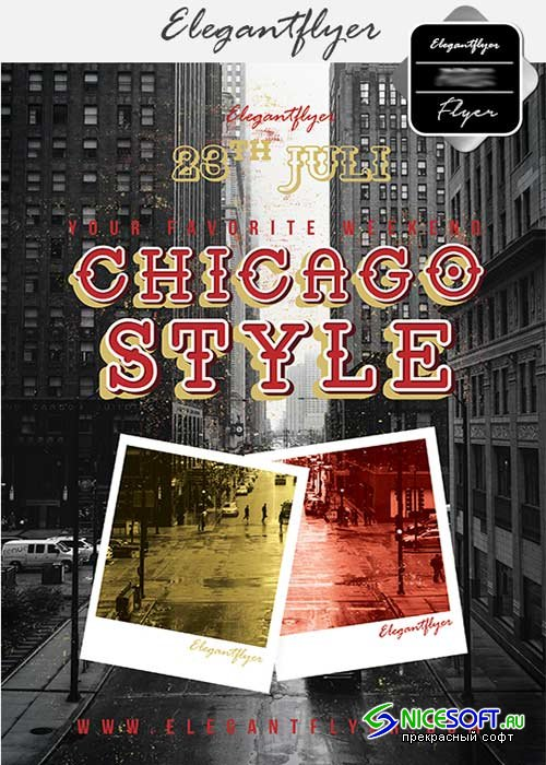 Chicago Style V5 Flyer PSD Template + Facebook Cover