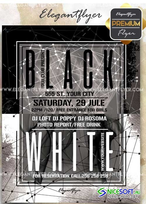Black and White Party V15 Flyer PSD Template + Facebook Cover