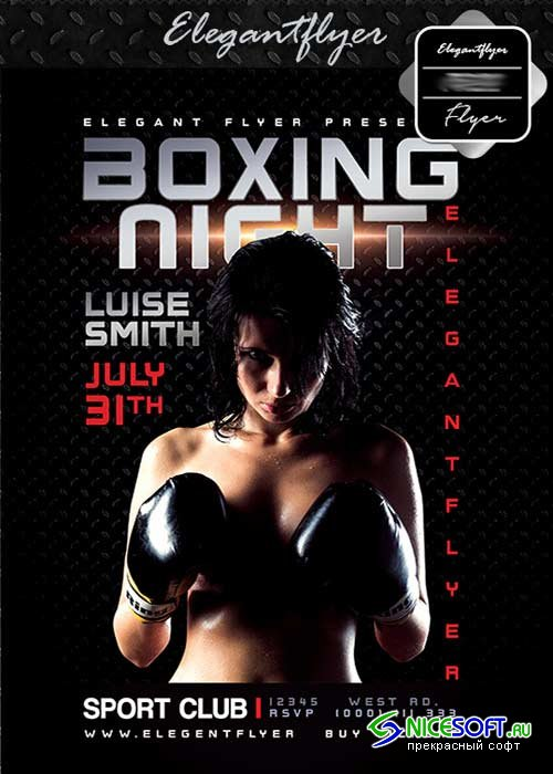 Boxing night V12 Flyer PSD Template + Facebook Cover
