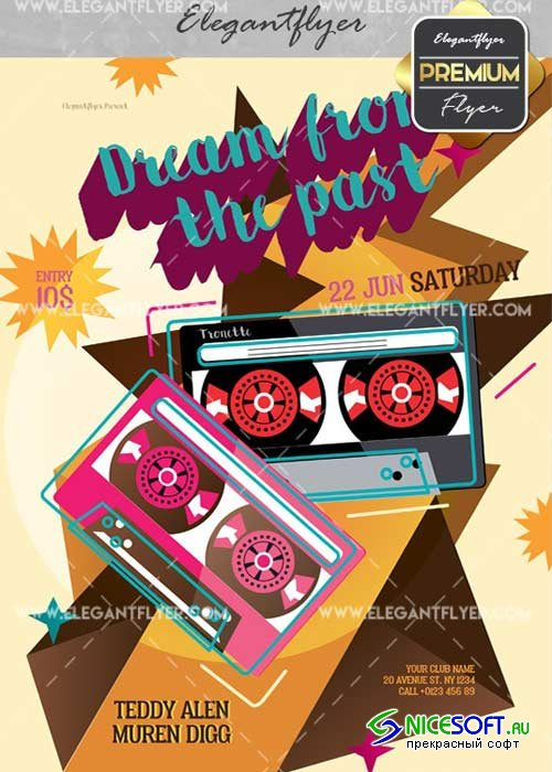 Dream from the Past V2 Flyer PSD Template + Facebook Cover