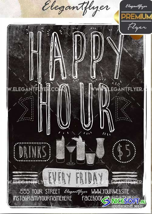 Happy Hour V25 Flyer PSD Template + Facebook Cover