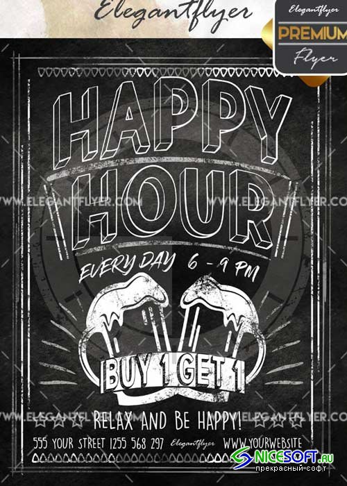 Happy Hour V18 Flyer PSD Template + Facebook Cover