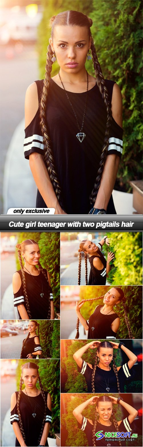 Cute girl teenager with two pigtails hair
