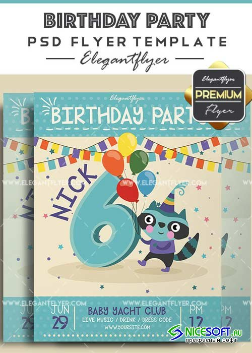 Birthday Party Flyer PSD V34 Template + Facebook Cover