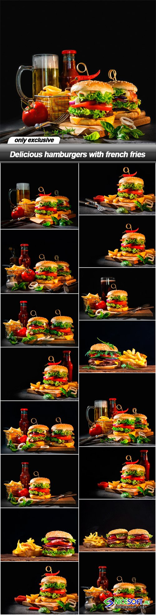 Delicious hamburgers with french fries