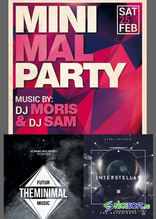Minimal Party 3in1 V14 Flyer Template
