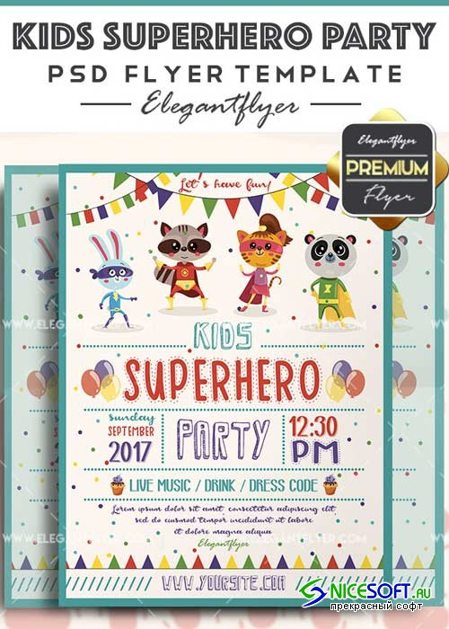 Kids Superhero Party V3 Flyer PSD Template + Facebook Cover