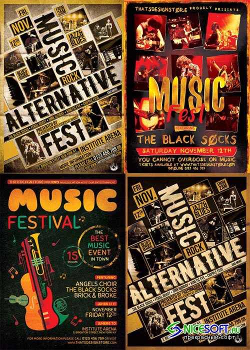 Music Festival 3in1 V5 Flyer Template