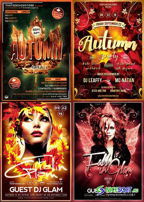Autumn Party 3in1 V1 Flyer Template