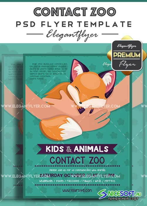 Contact Zoo V1 Flyer PSD Template + Facebook Cover