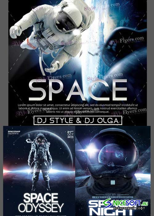 Space Flyer 3in1 V1 Flyer Template