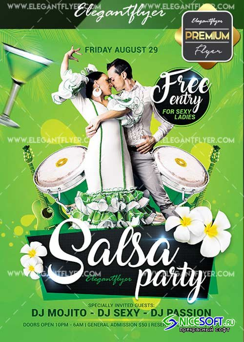 Salsa Party V26 Flyer PSD Template + Facebook Cover