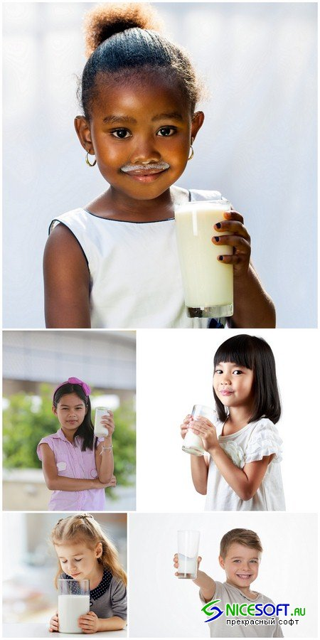 Child with glass of milk - 5 UHQ JPEG