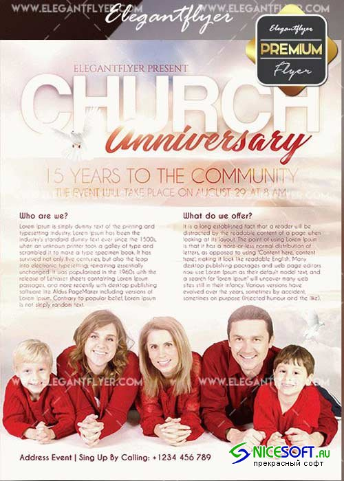 Church Anniversary V18 Flyer PSD Template + Facebook Cover