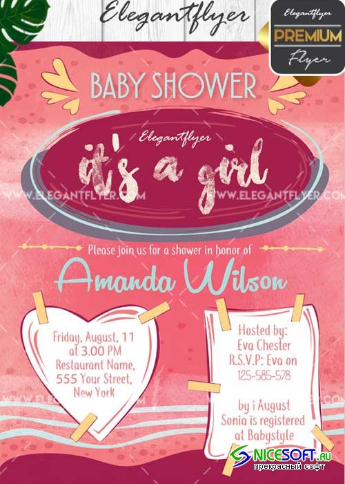 Baby Shower V6 Flyer PSD Template + Facebook Cover