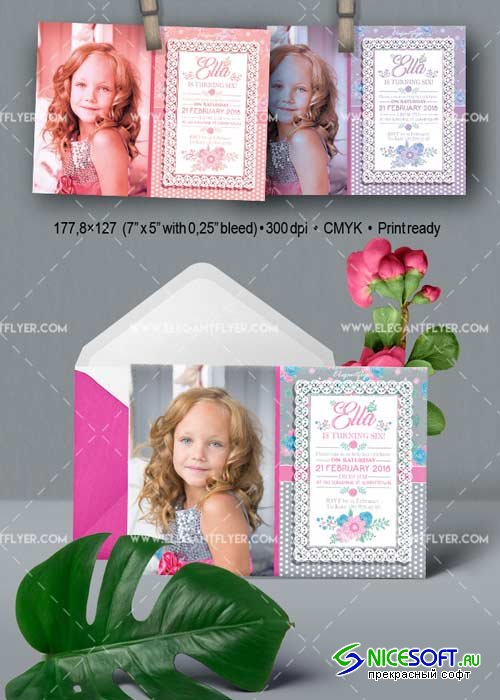 Birthday Party v09 Invitation PSD Template