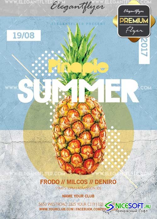 Pinapple Summer V2 Flyer PSD Template + Facebook Cover
