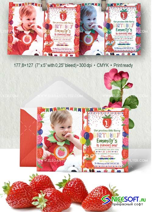 Birthday Party Strawberry V3 Invitation PSD Template