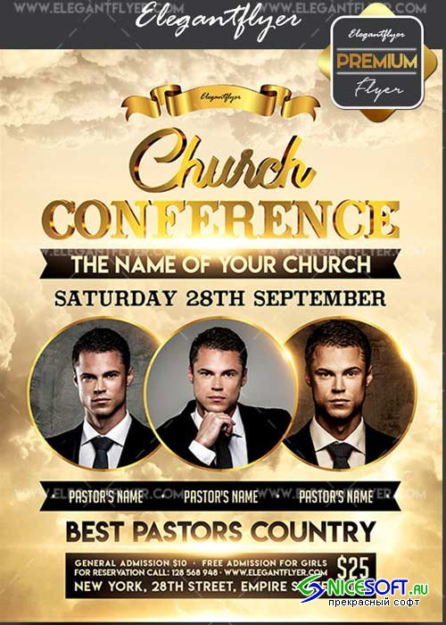 Church Conference V29 Flyer PSD Template + Facebook Cover