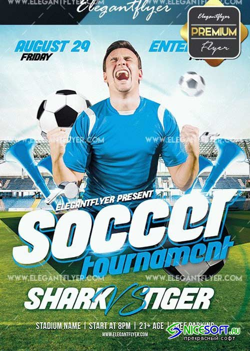 Soccer Tournament V27 Flyer PSD Template + Facebook Cover