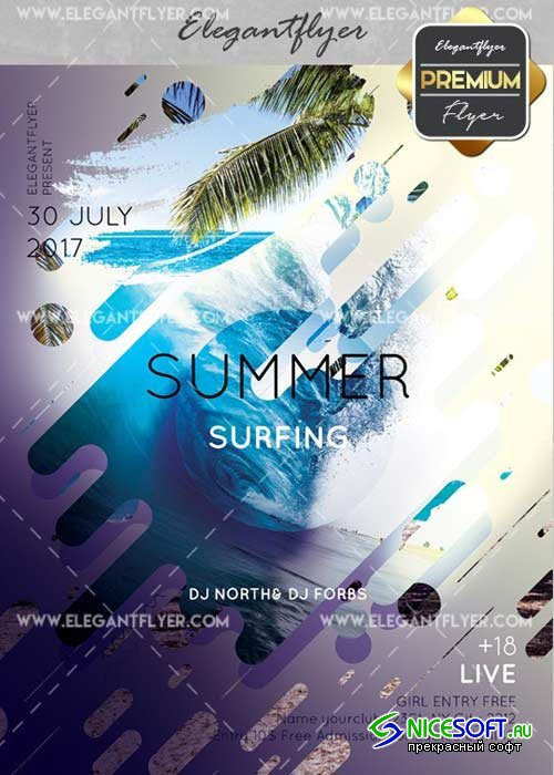 Summer Surfing V4 Flyer PSD Template + Facebook Cover
