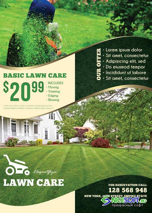 Lawn Care V2 Flyer PSD Template + Facebook Cover