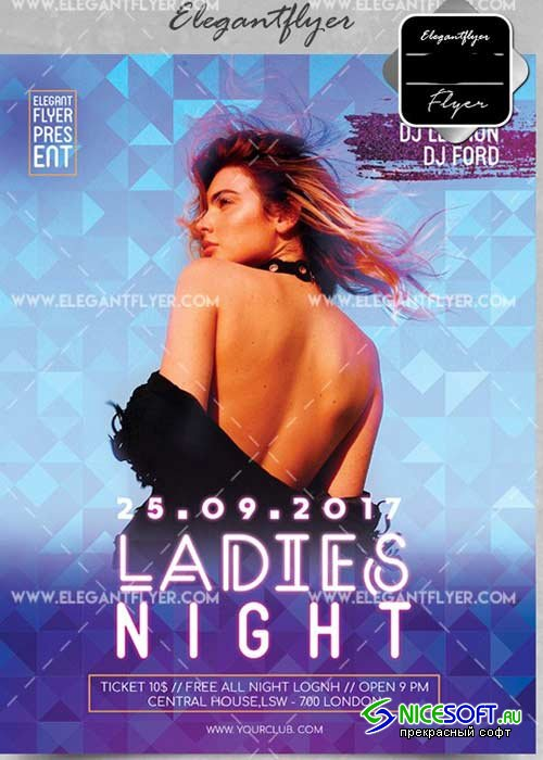Ladies Night V44 Flyer PSD Template + Facebook Cover