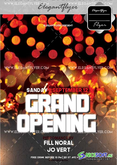 Grand Opening V33 Flyer PSD Template + Facebook Cover