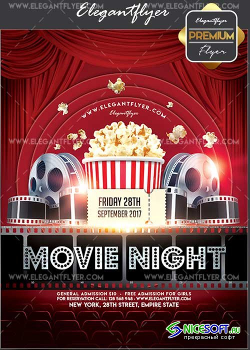Movie Night V19 Flyer PSD Template + Facebook Cover