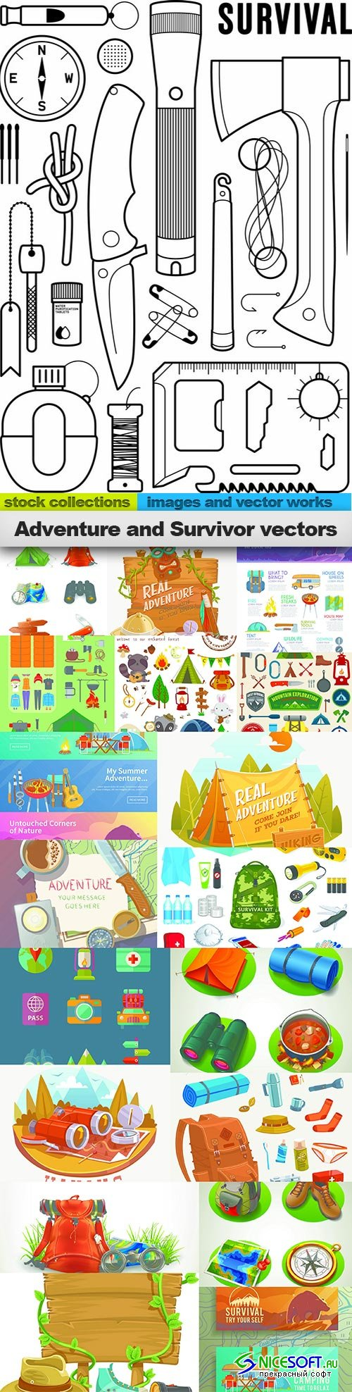 Adventure and Survivor vectors, 19 x EPS