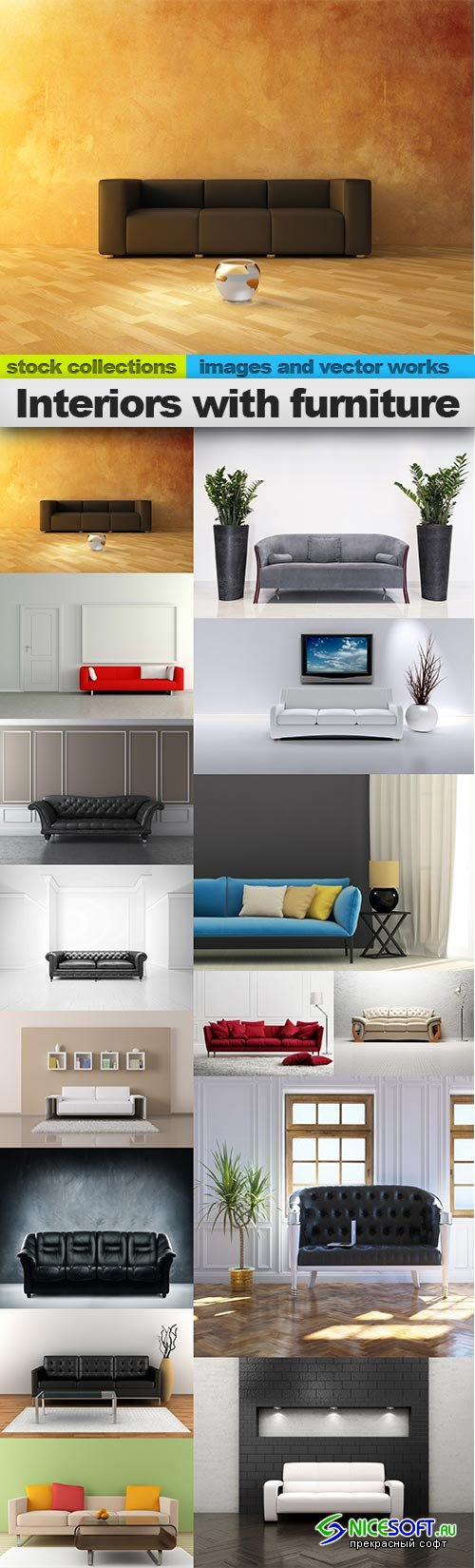 Interiors with furniture, 15 x UHQ JPEG