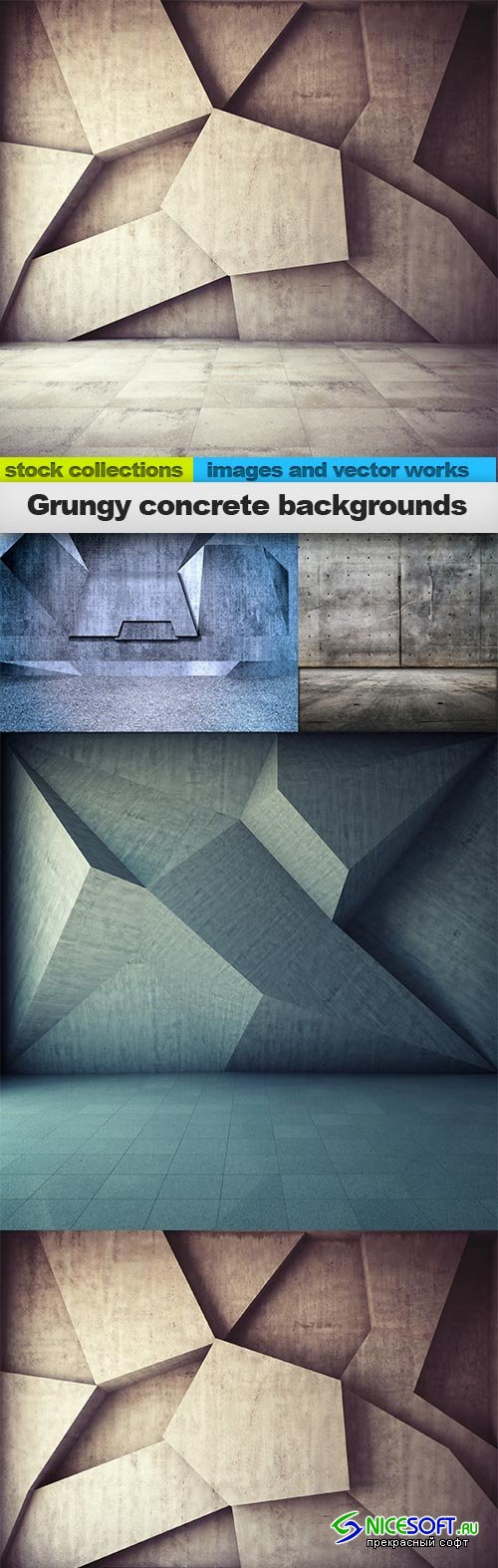 Grungy concrete backgrounds, 04 x UHQ JPEG