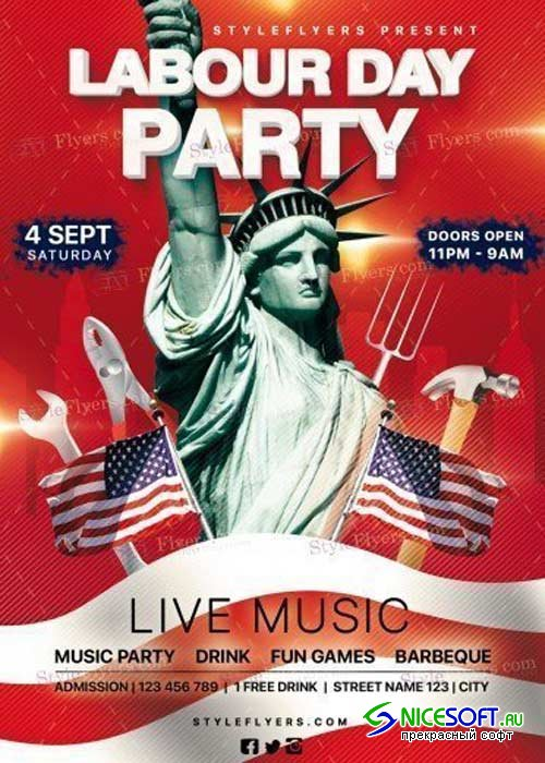 Labour Day Party V27 PSD Flyer Template