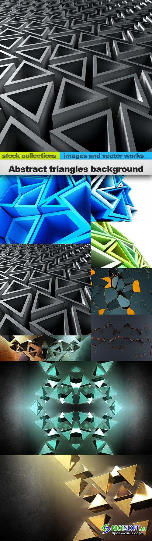 Abstract triangles background, 10 x UHQ JPEG