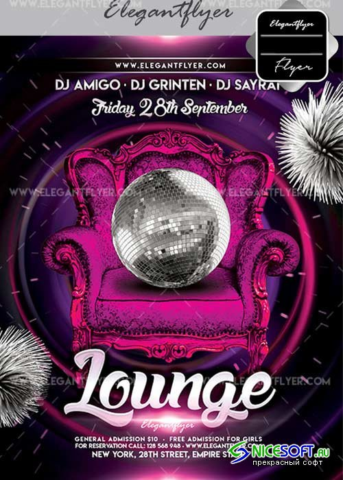 Lounge V25 Flyer PSD Template + Facebook Cover