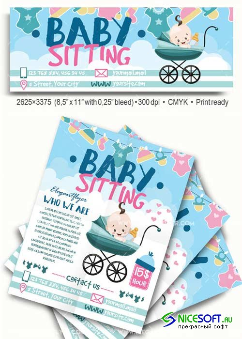 Babysitting Flyer Template V59 Flyer PSD Template + Facebook Cover