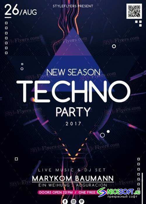 New Season Techno Party V4 PSD Flyer Template