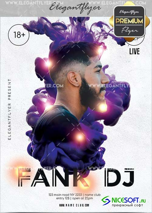 Fank DJ V4 Flyer PSD Template + Facebook Cover
