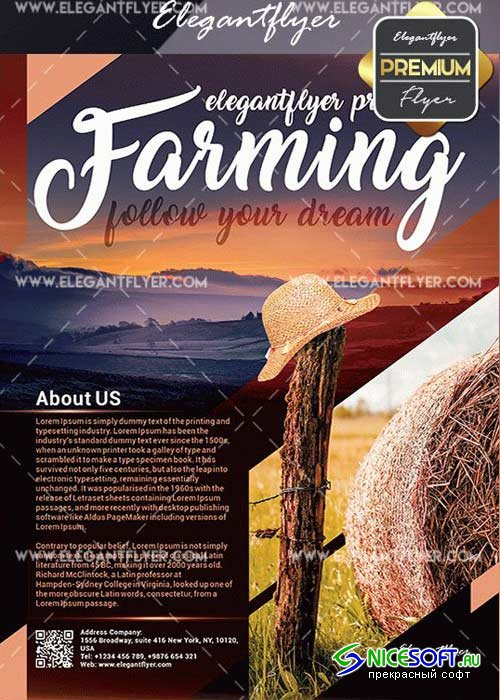 Farming V3 Flyer PSD Template + Facebook Cover