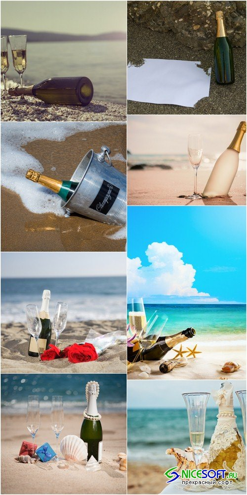Bottle of champagne on the sand - 8 UHQ JPEG