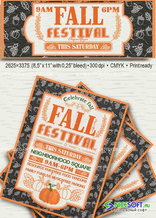 Fall Festival V18 Flyer PSD Template + Facebook Cover